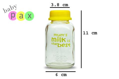 ukuran detail botol kaca babypax